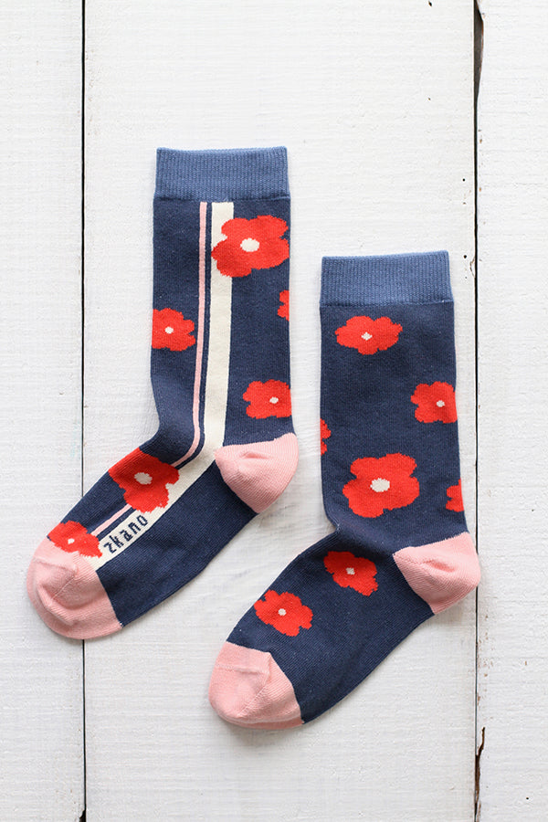 EMMY FLOWERED SIDE STRIPE CREW SOCKS