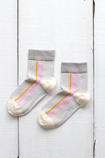 DANIE SIDE STRIPES 1/4-CREW SOCKS
