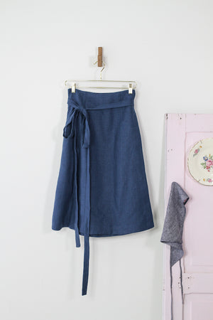 EVERYDAY BEAUTIFUL A-LINE APRON WRAP SKIRT IN FRENCH BLUE LINEN