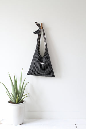 Lycée Tie Top Reversible Bag in Black