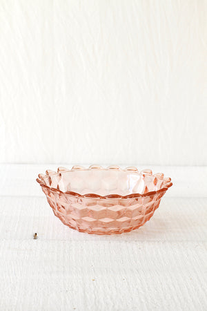 Rose Pink Cube Depression Glass Bowl