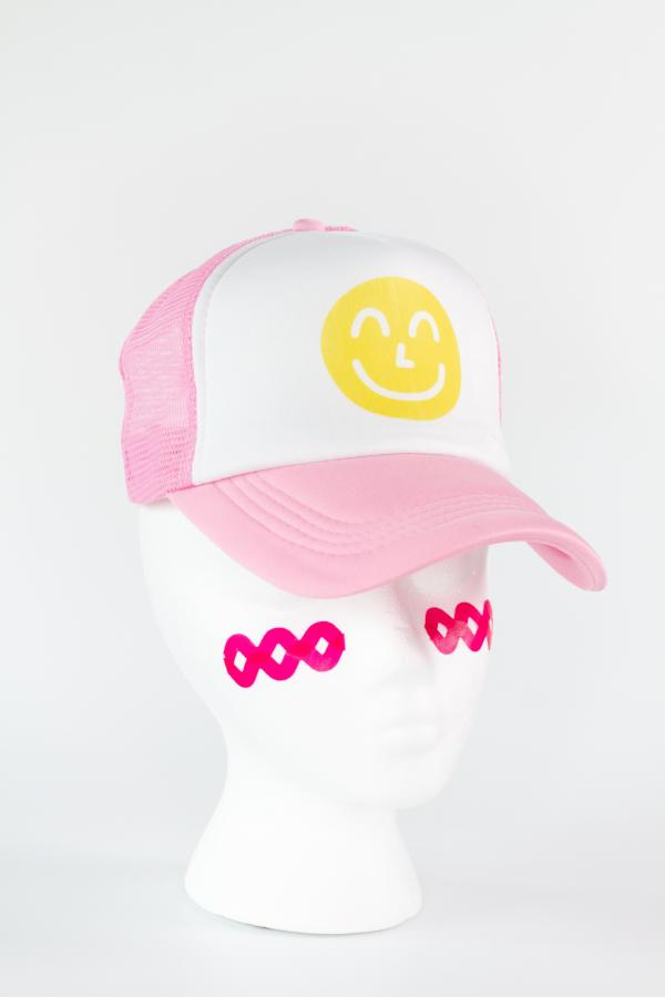 Pink Smiley Trucker Hat