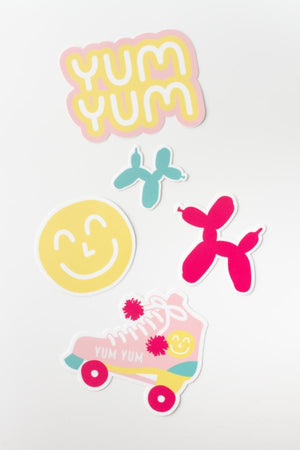 1970's Inspired Nostalgic Custom Weather Resistant Die Cut Sticker Set With Yum Yum Bubble Gum Smiley Face Balloon Dog And Roller Skate