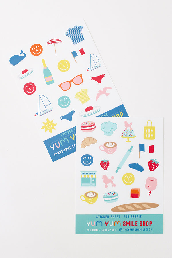 French Yum Yum Smile Shop Sticker Sheets
