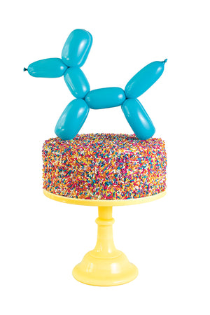 Jimmie the balloon dog dessert cake topper kit with 260q latex balloons, miniature air inflation pump and bright colored penny carnival candy sprinkles