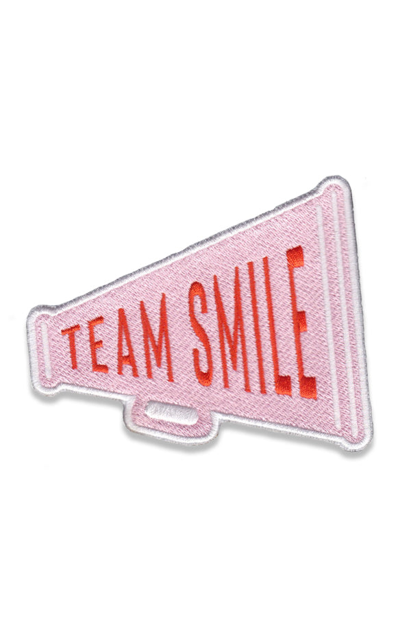 Team Smile Yum Yum Smile Shop Varsity Megaphone sew on embroidery patch