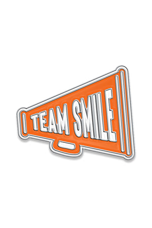 Team Smile Yum Yum Smile Shop Varsity Cheerleader Megaphone Enamel Pin with Silver Backing and Butterfly Clip