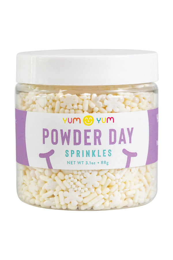 Yum Yum Smile Shop Powder Day Sprinkles. Chic White Snowflake, pearl, nonpareils and creamy jimmies make any dessert look chic!