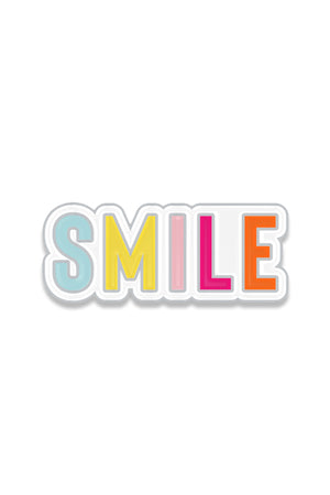 SMILE bright colored Yum Yum Smile Shop Enamel Lapel Accessory Pin with Silver Backing and Butterfly Clip