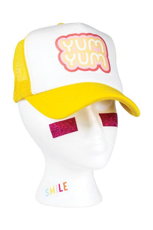 Yum Yum Bubble Gum Truck Hat in Yellow 70's nostalgic inspired font typeface in groovy bright colors
