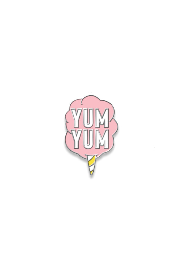 Yum Yum Smile Shop Cotton Candy Soft Enamel Pin with Silver Back and Butterfly Clip
