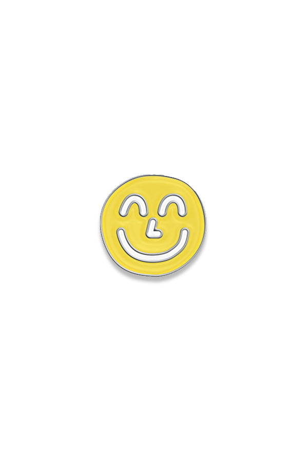 Yellow Yum Yum Smiley Face Fashion Accessory Lapel Enamel Pin with Silver Backing and Butterfly Clipping