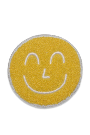 Yum Yum Smiley Face Yellow Chenille and Embroidery sew on vintage inspired patch