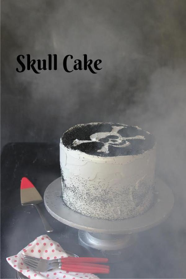 Fun Halloween Cake Decorating Technique. Skull Cake with black sugar sprinkles. Libbie Summers' Yum Yum Smile Shop