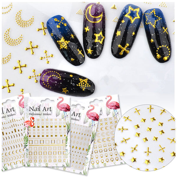 Gold Foil Detailed Nail Stickers