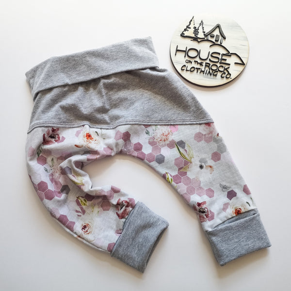 Grow pants- Honeycomb Floral