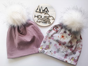 Reversible Pompom Hat- Honeycomb Floral and Mauve