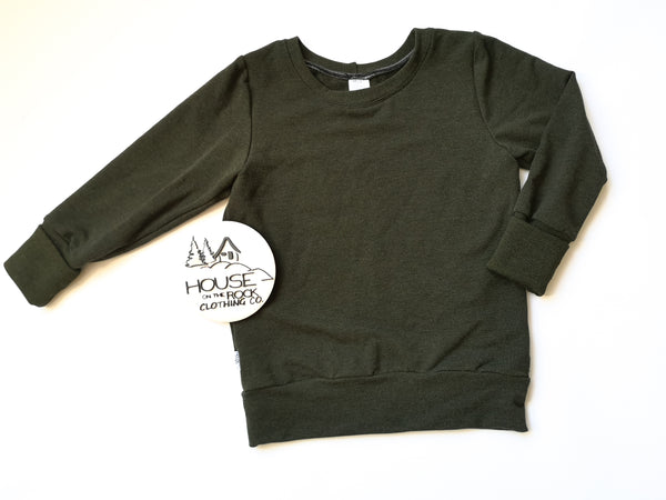 Basics Grow Sweater- Heathered Green Crew