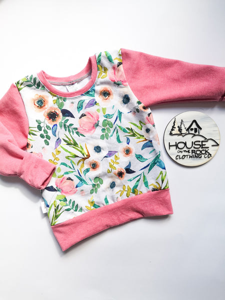 Grow sweater- Fable floral and Pink Crew