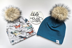 Reversible Pompom Hat- Wild Horses and Petrol