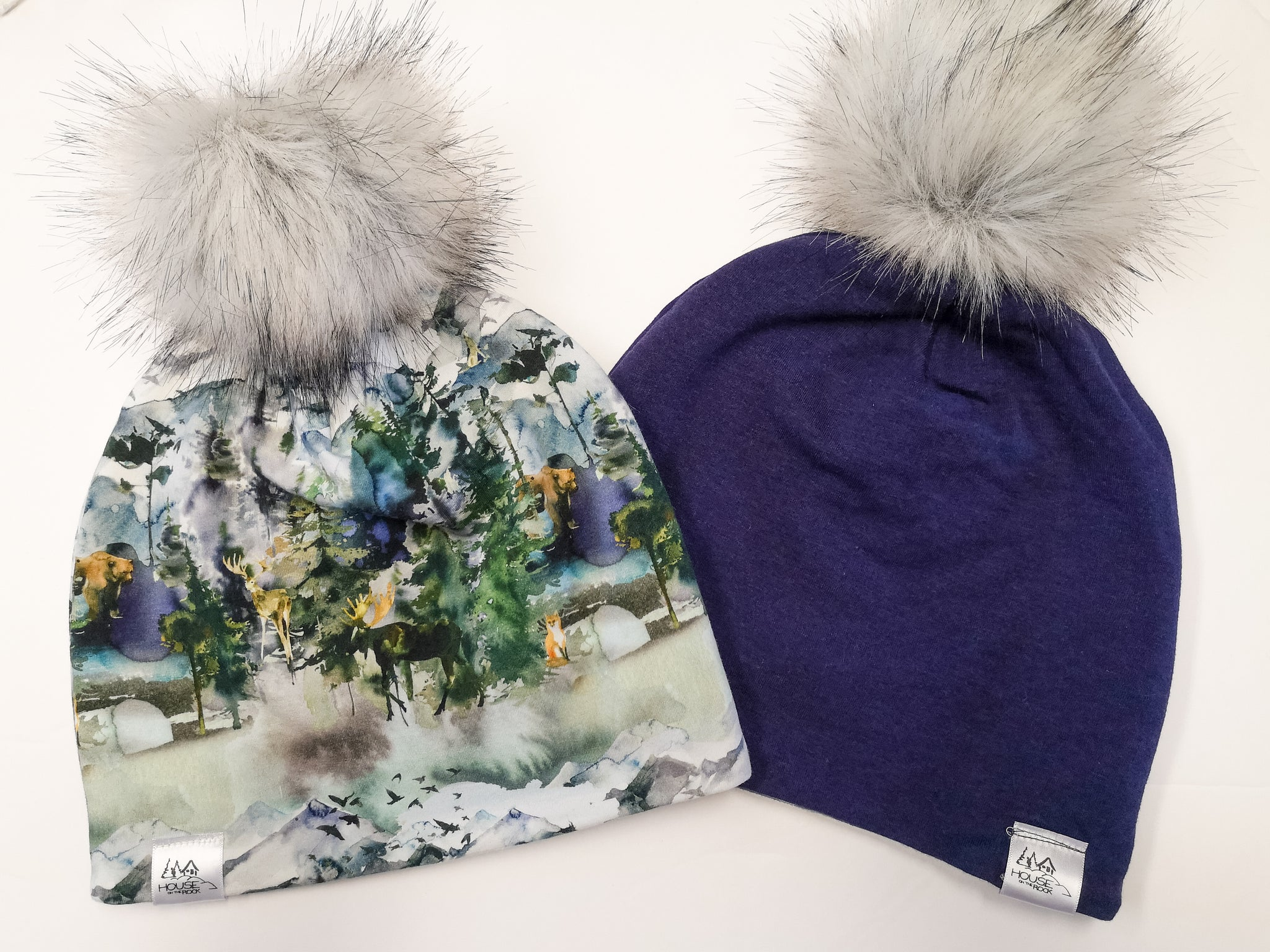 Reversible Pompom Hat- Wilderness and Purple