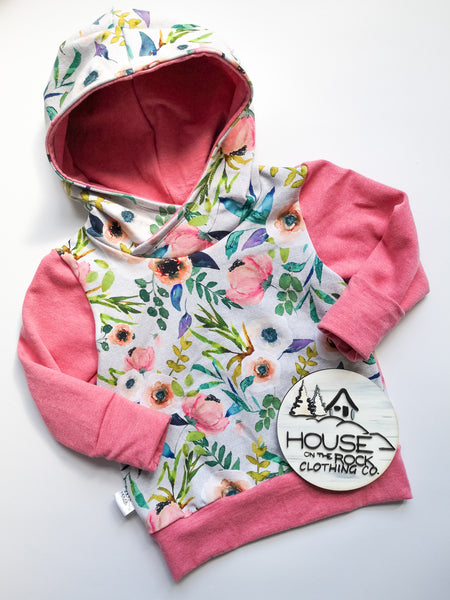 Grow sweater- Fable floral and Pink Hoodie