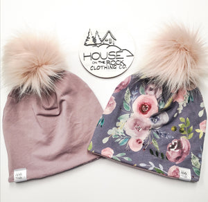 Reversible Pompom Hat- Moody Floral and Mauve