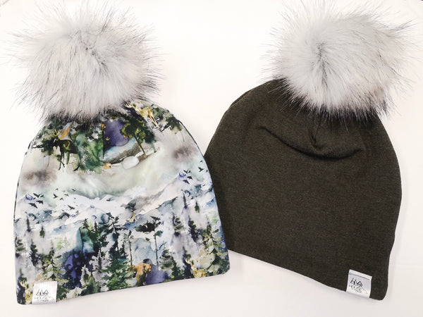 Reversible Pompom Hat- Wilderness and Heathered Green