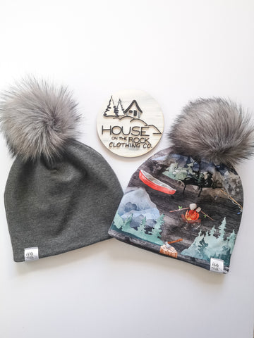 Reversible Pompom Hat- Camping and Charcoal Grey