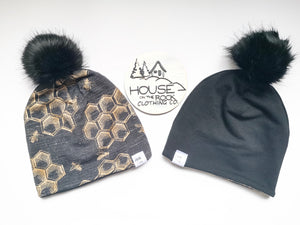 Reversible Pompom Hat- Bees and Black