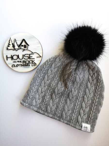 Reversible Pompom Hat- Grey Cable Knit