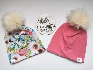 Reversible Pompom Hat- Fable Floral and Pink