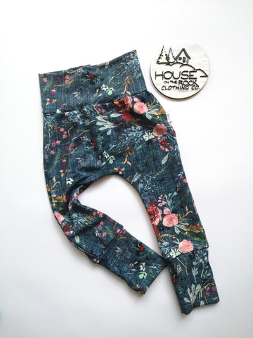 Grow pants- Floral on teal