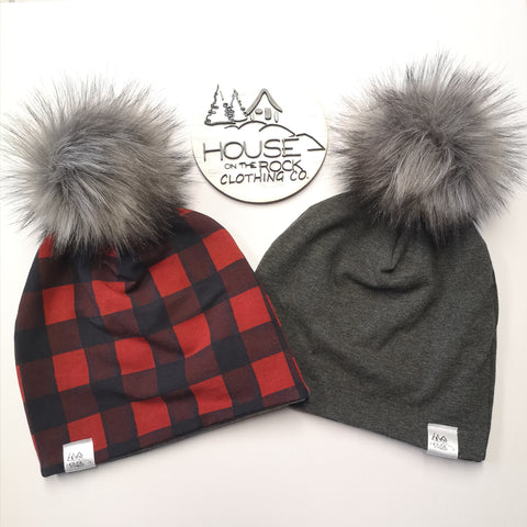 Reversible Pompom Hat- Plaid and Charcoal Grey