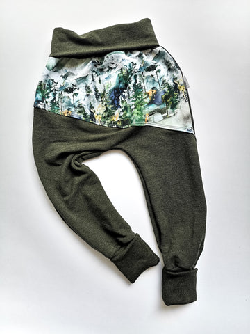Grow Pants- Wilderness and Heathered Green