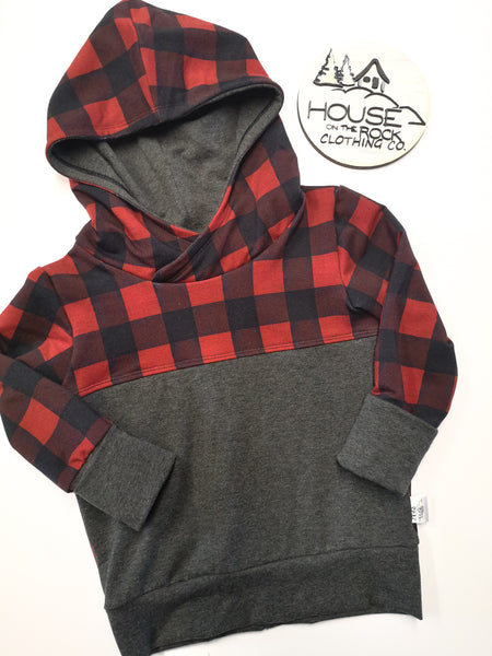 Grow sweater- Plaid Patchwork Hoodie