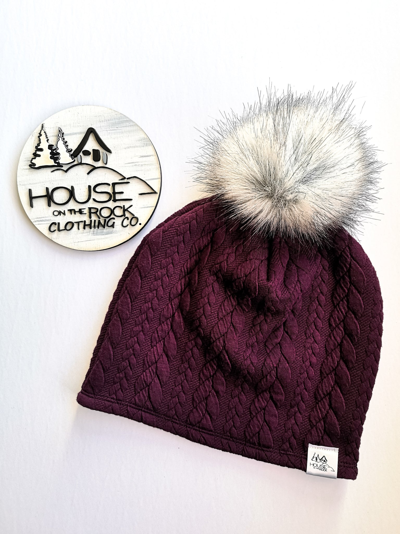 Reversible Pompom Hat- Plum Cable Knit