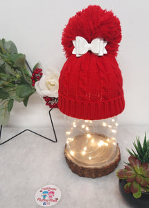 Holli's Red Glitter Bow Hat NB-12mths
