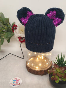 Holli's Navy Glitter Bow Hat NB-12mths
