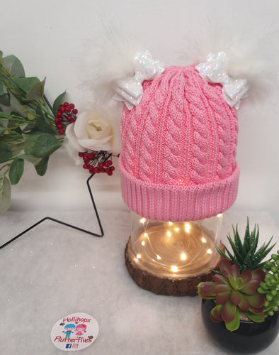 Holli's Pink Glitter Bow Hat NB-3yrs