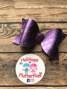 Chloe Purple Kriss Cross Bow - Hollihops & Flutterflies