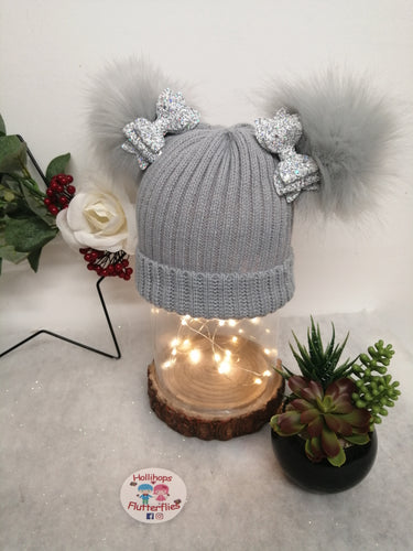 Holli's Grey Glitter Bow Hat NB-12mths