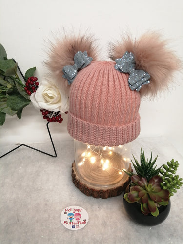 Holli's Pink Glitter Bow Hat NB-12mths