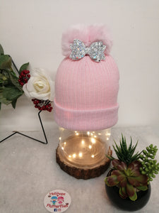 Holli's Baby Pink Glitter Bow Hat NB-12mths