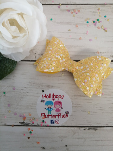 Sophia Lemon Glitter Bow
