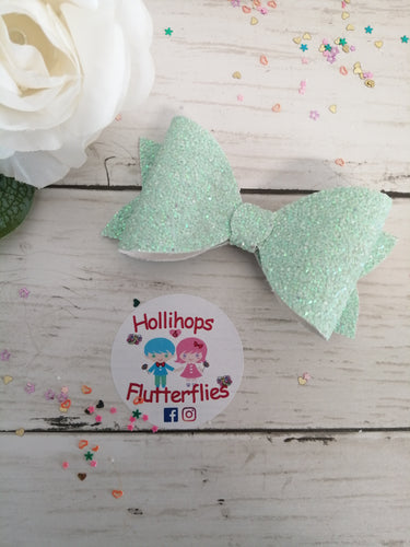 Sophia Mint Green Glitter Bow