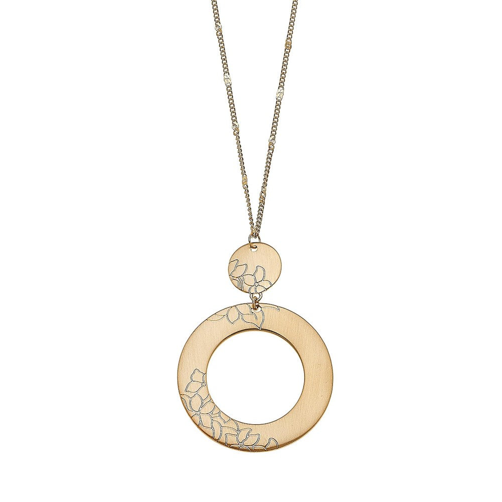 Satin Gold Flower Stamped Circle Pendant Necklace. - Harp & Sole Boutique