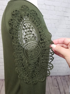 Olive Long Sleeve Top with Crochet Lace on Sleeves - Harp & Sole Boutique