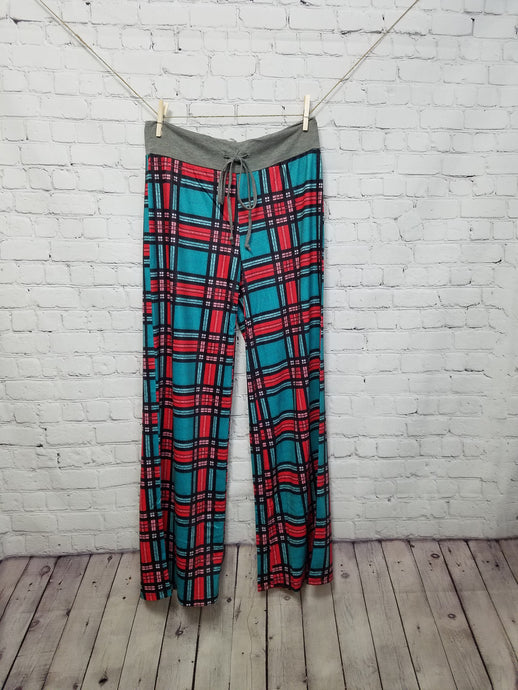 Turquoise & Red Plaid Drawstring Lounge Pants - Harp & Sole Boutique
