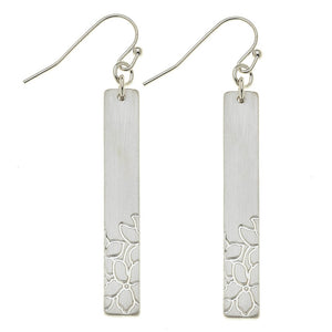Flower Stamped Bar Earrings - Harp & Sole Boutique